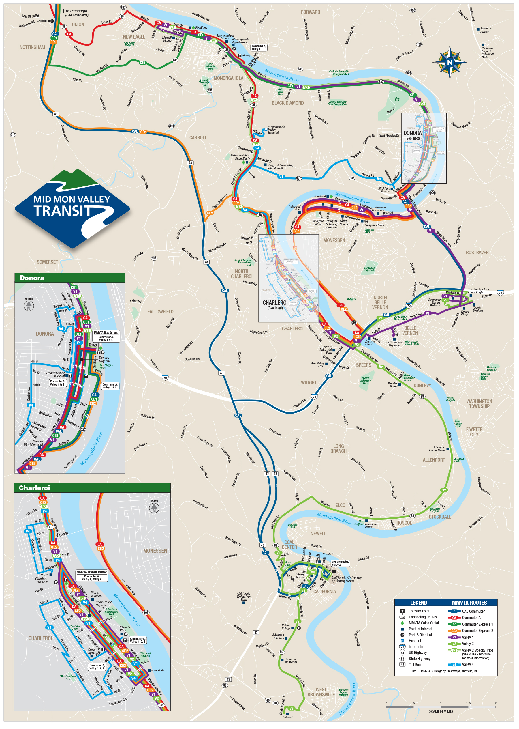 System Map South Mid Mon Valley Transit